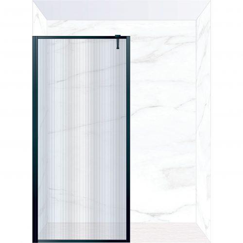 West One Bathrooms Online FXBOR100BK – BORDER Fixed Panel 1000 x 2100 mm Matt Black & Fluted Glass