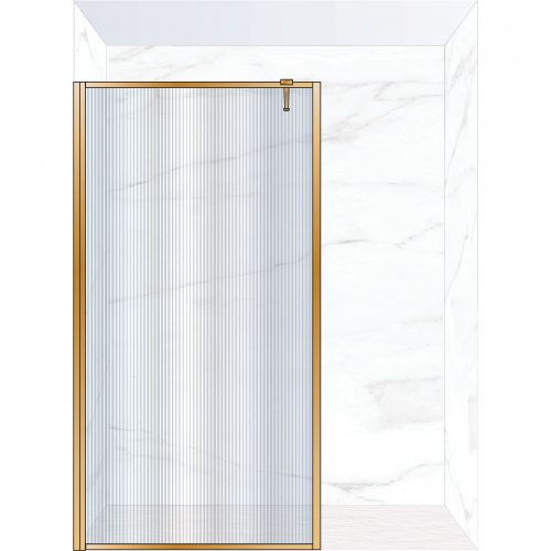West One Bathrooms Online FXBOR120BB – BORDER Fixed Panel 1200 x 2100 mm Brushed Brass & Fluted Glass