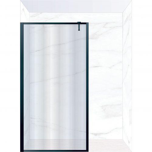 West One Bathrooms Online FXBOR120BK – BORDER Fixed Panel 1200 x 2100 mm Matt Black & Fluted Glass