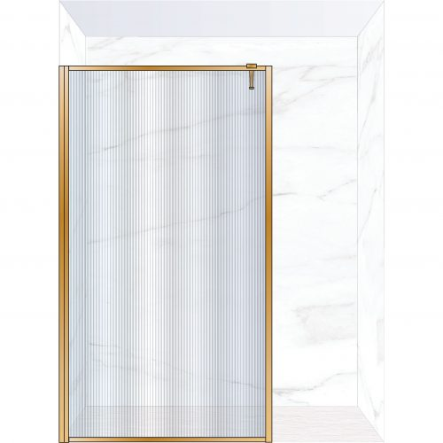 West One Bathrooms Online FXBOR140BB – BORDER Fixed Panel 1400 x 2100 mm Brushed Brass & Fluted Glass