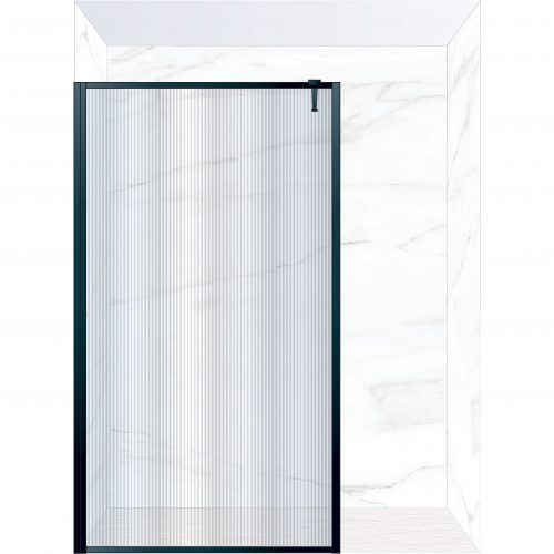 West One Bathrooms Online FXBOR140BK – BORDER Fixed Panel 1400 x 2100 mm Matt Black & Fluted Glass