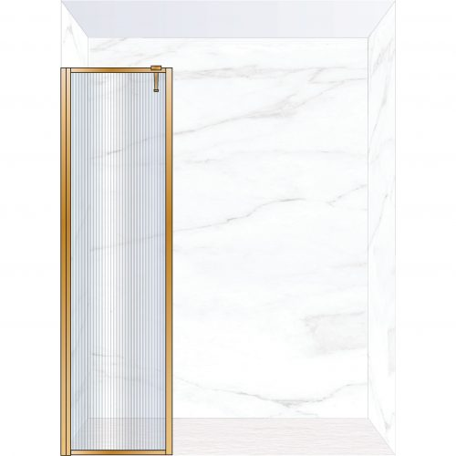 West One Bathrooms Online FXBOR50BB – BORDER Fixed Panel 500 x 2100 mm Brushed Brass & Fluted Glass