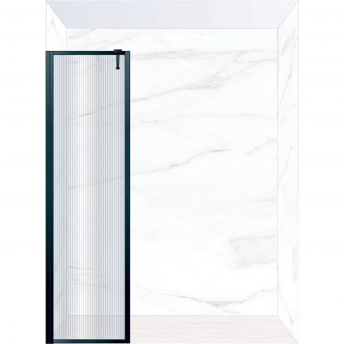 West One Bathrooms Online FXBOR50BK – BORDER Fixed Panel 500 x 2100 mm Matt Black & Fluted Glass