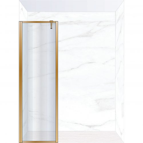 West One Bathrooms Online FXBOR60BB – BORDER Fixed Panel 600 x 2100 mm Brushed Brass & Fluted Glass