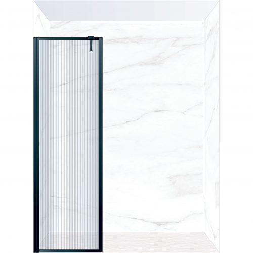 West One Bathrooms Online FXBOR60BK – BORDER Fixed Panel 600 x 2100 mm Matt Black & Fluted Glass