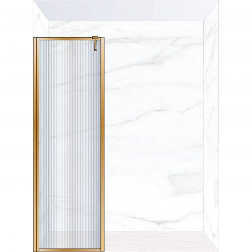 West One Bathrooms Online FXBOR70BB – BORDER Fixed Panel 700 x 2100 mm Brushed Brass & Fluted Glass