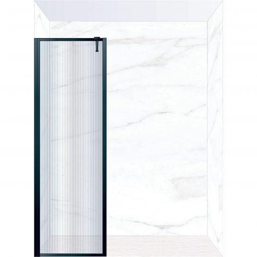 West One Bathrooms Online FXBOR70BK – BORDER Fixed Panel 700 x 2100 mm Matt Black & Fluted Glass