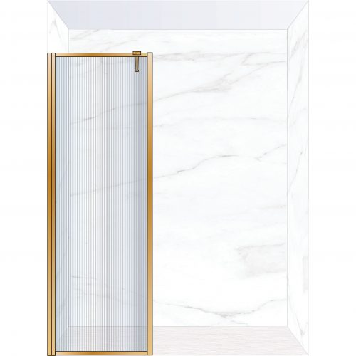 West One Bathrooms Online FXBOR80BB – BORDER Fixed Panel 800 x 2100 mm Brushed Brass & Fluted Glass