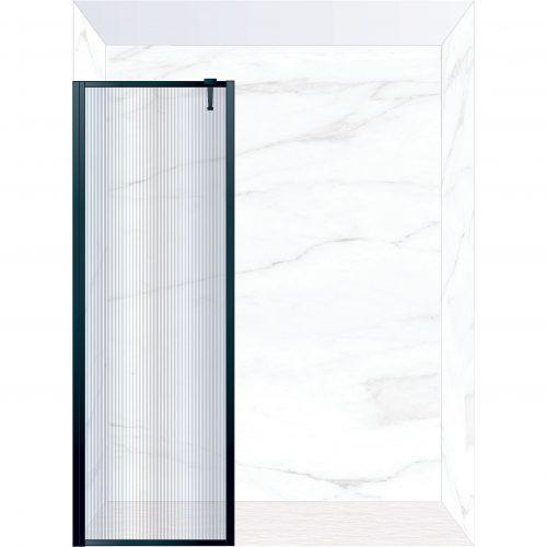 West One Bathrooms Online FXBOR80BK – BORDER Fixed Panel 800 x 2100 mm Matt Black & Fluted Glass