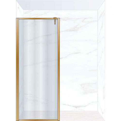 West One Bathrooms Online FXBOR90BB – BORDER Fixed Panel 900 x 2100 mm Brushed Brass & Fluted Glass