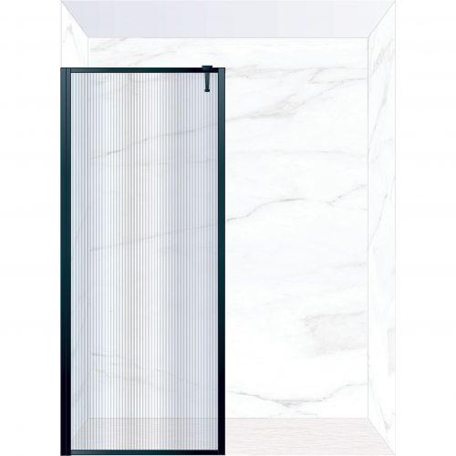 West One Bathrooms Online FXBOR90BK – BORDER Fixed Panel 900 x 2100 mm Matt Black & Fluted Glass