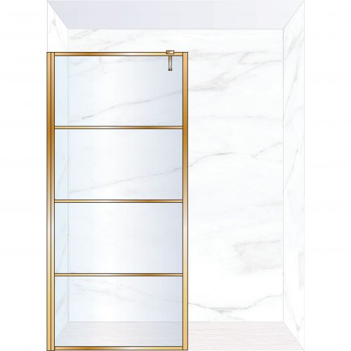 West One Bathrooms Online FXDEC100BB – DECO Fixed Panel 1000 x 2100 mm Brushed Brass & Clear Glass