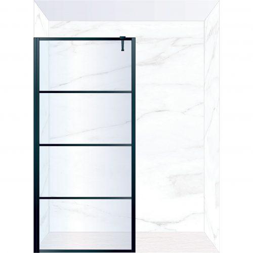 West One Bathrooms Online FXDEC100BK – DECO Fixed Panel 1000 x 2100 mm Matt Black & Clear Glass
