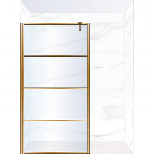 West One Bathrooms Online FXDEC120BB – DECO Fixed Panel 1200 x 2100 mm Brushed Brass & Clear Glass