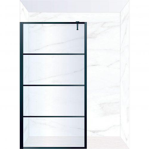 West One Bathrooms Online FXDEC120BK – DECO Fixed Panel 1200 x 2100 mm Matt Black & Clear Glass