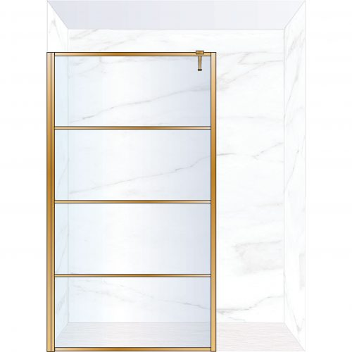 West One Bathrooms Online FXDEC140BB – DECO Fixed Panel 1400 x 2100 mm Brushed Brass & Clear Glass