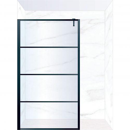 West One Bathrooms Online FXDEC140BK – DECO Fixed Panel 1400 x 2100 mm Matt Black & Clear Glass