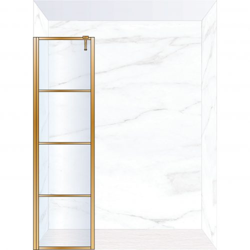 West One Bathrooms Online FXDEC50BB – DECO Fixed Panel 500 x 2100 mm Brushed Brass & Clear Glass
