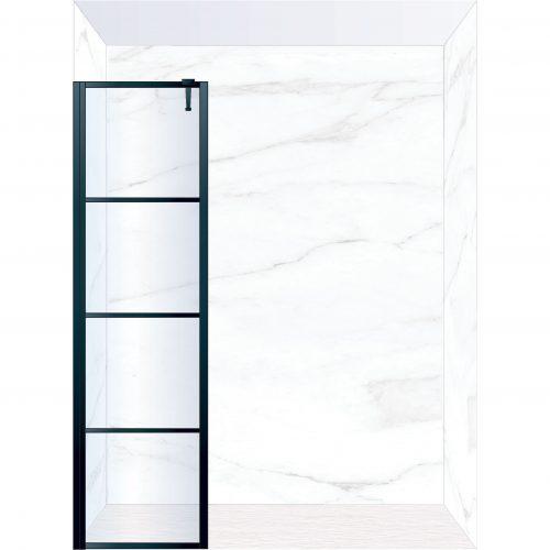 West One Bathrooms Online FXDEC50BK – DECO Fixed Panel 500 x 2100 mm Matt Black & Clear Glass