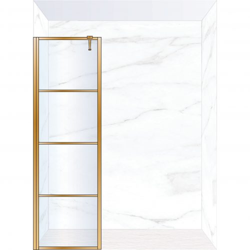 West One Bathrooms Online FXDEC60BB – DECO Fixed Panel 600 x 2100 mm Brushed Brass & Clear Glass