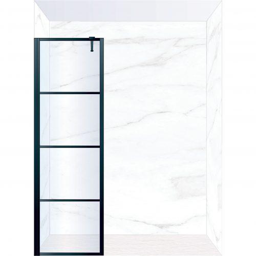 West One Bathrooms Online FXDEC60BK – DECO Fixed Panel 600 x 2100 mm Matt Black & Clear Glass
