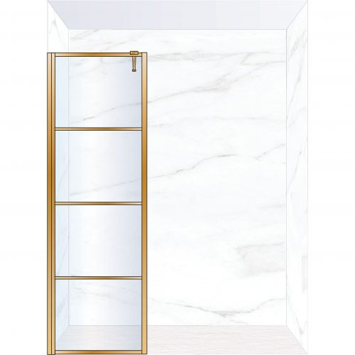 West One Bathrooms Online FXDEC70BB – DECO Fixed Panel 700 x 2100 mm Brushed Brass & Clear Glass
