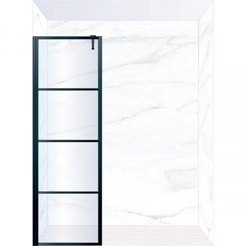 West One Bathrooms Online FXDEC70BK – DECO Fixed Panel 700 x 2100 mm Matt Black & Clear Glass