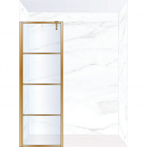 West One Bathrooms Online FXDEC80BB – DECO Fixed Panel 800 x 2100 mm Brushed Brass & Clear Glass