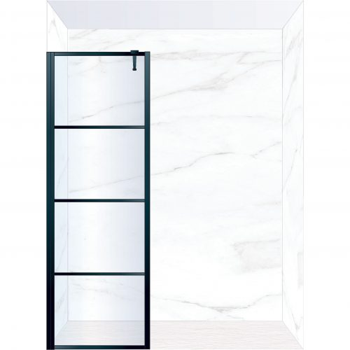 West One Bathrooms Online FXDEC80BK – DECO Fixed Panel 800 x 2100 mm Matt Black & Clear Glass