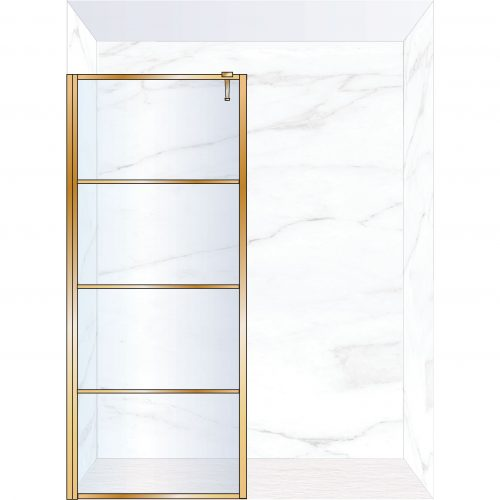 West One Bathrooms Online FXDEC90BB – DECO Fixed Panel 900 x 2100 mm Brushed Brass & Clear Glass