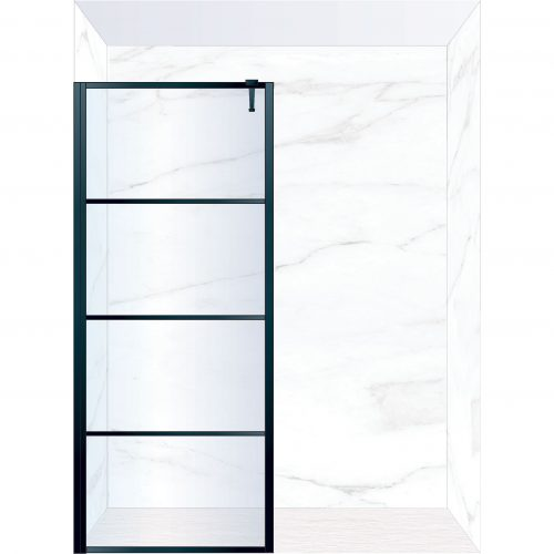 West One Bathrooms Online FXDEC90BK – DECO Fixed Panel 900 x 2100 mm Matt Black & Clear Glass