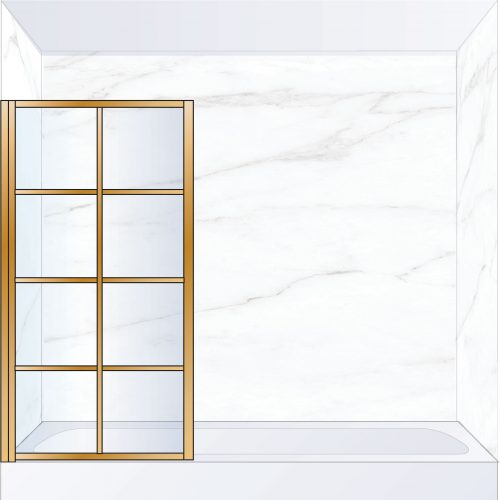 West One Bathrooms Online LTEBATLBB – FRAME Lite Pivot Bath Screen 800 x 1500 mm LH Brushed Brass & Clear Glass