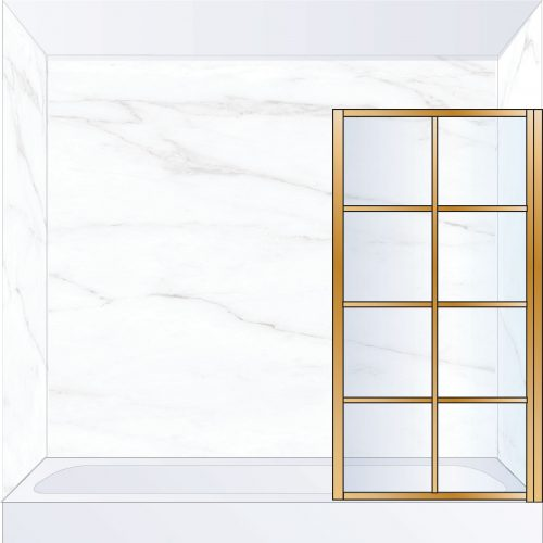 West One Bathrooms Online LTEBATRBB – FRAME Lite Pivot Bath Screen 800 x 1500 mm RH Brushed Brass & Clear Glass