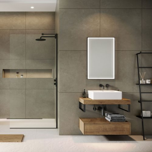 West One Bathrooms Online Concept Pure 80cm oak – brused matt black jpg