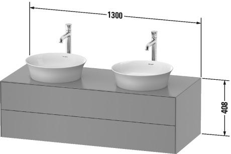 West One Bathrooms White Tulip Double Vanity Unit Technical