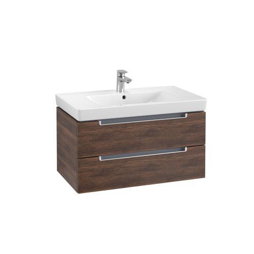 West One Online Soho Wall Hung Vanity Unit & Washbasin – Arizona Oak