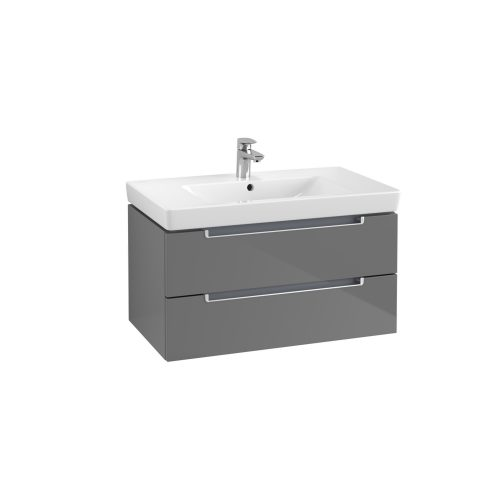 West One Online Soho Wall Hung Vanity Unit & Washbasin – Glossy Grey