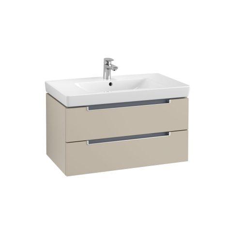 West One Online Soho Wall Hung Vanity Unit & Washbasin  Soft Grey