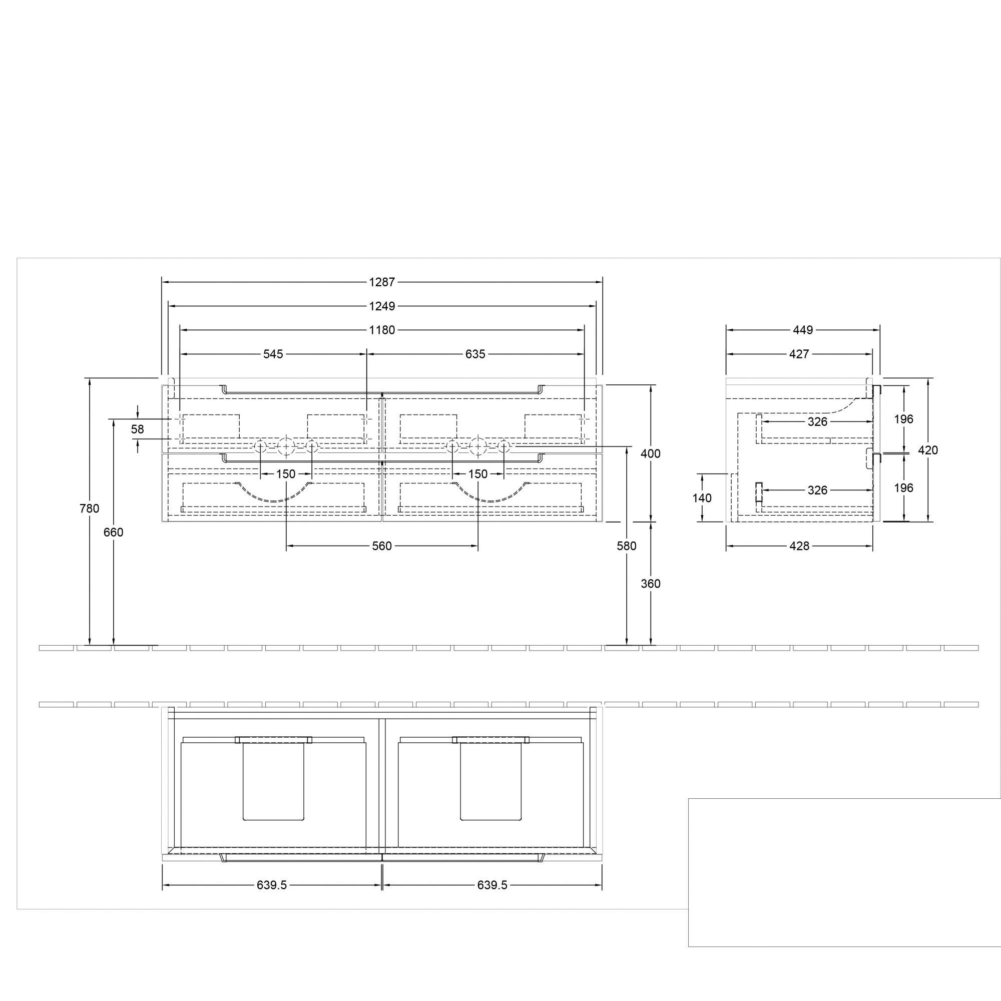 West One Online VB soho double basin & vanity unit