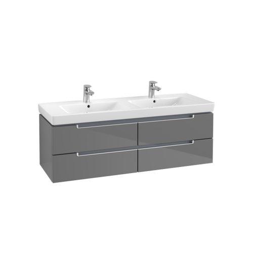 West One Online VB soho double basin & vanity unit  Glossy grey