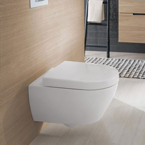 West One Online VB Soho Rimless Wall Hung WC & Soft Close Seat